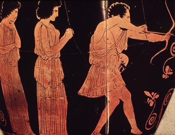 the bow of odysseus Penelope retrieves odysseus' great bow from the storeroom and her maids bear axe heads into the main hall penelope explains the game: whoever can string her husband's bow and shoot an arrow through the twelve axeheads will marry her.